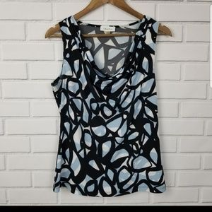 Calvin Klein Short Sleeve Swoop Neck Blouse Large